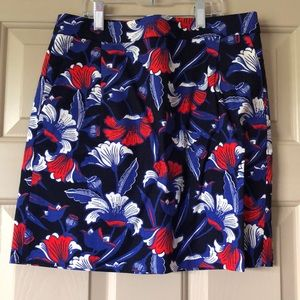 JCrew Blue Red Classic Floral Skirt